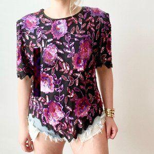 Vintage Purple Floral Sequin Top 2XL